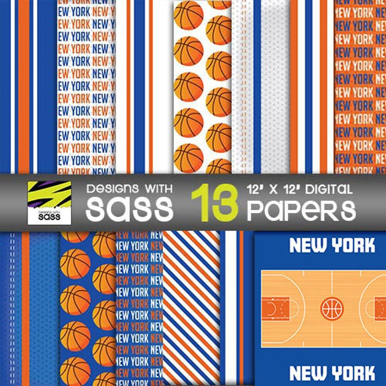 Digital Paper New York basketball orange blue Basketball image 0