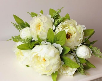 Pink, White, Peony bouquet, fake flowers, artificial flowers, bridal bouquets, wedding bouquets, fake peony bouquet, wedding flowers, Spring