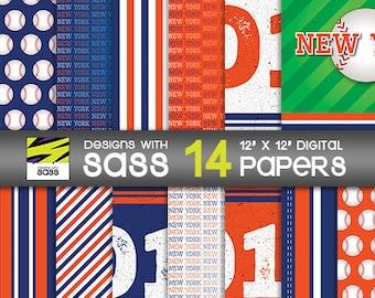 Digital Paper, New York Baseball, Jamberry, Scrapbook Paper, Paper Craft, Orange, White, Blue, Baseball, Commercial Use, Sports, background