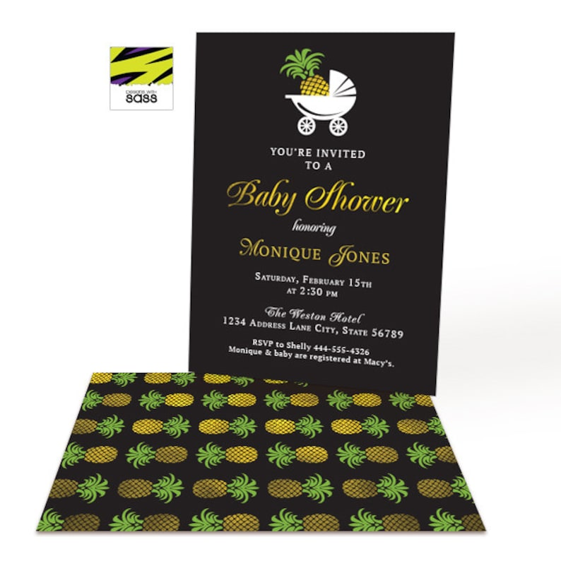 Printable Baby Shower Pineapple Gold Invitation Golden image 0