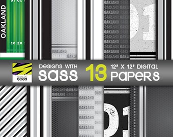 Digital Paper, Oakland football, Jamberry, Football, Black, White, Scrapbook paper, Commercial Use, Football , Card Making, background