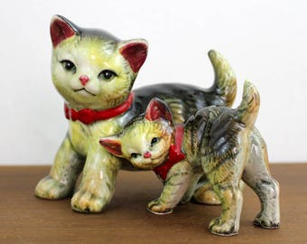 Vintage Mid Century Two Cat Figurine Green Eyes White Gray Playful Statue Ceramic Kitten China Pottery Japan Tabby Red Bows Pair Duo Mom