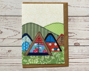 Tents Greeting card, printed version of original, Any Occasion Card, camping, Paper Collage Artwork, Paper Stitched Art, Embroidered Art