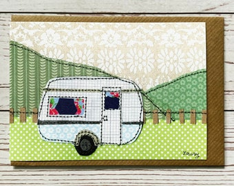 Vintage Caravan Greeting Card, print of original, Illustrated Caravan Card,Any Occasion Card,Camping,Paper Collage Artwork, Paper Stitched A