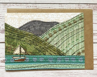 Keswick Boat Greeting Card, printed version of original, Illustrated Boat Card, Any Occasion Card,Lake District,Paper Collage Artwork,Stitch