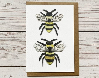 Two bees Greeting Card, print of original piece, blank inside