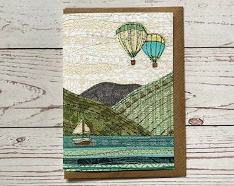 Keswick Greeting Card, print of original, Illustrated Lake District Card,Any Occasion Card,The Lakes, Paper Collage Artwork, Paper Stitched