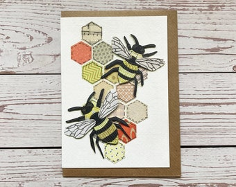 Hexagon Bees Greeting Card, Any Occasions Card, Bee Lovers