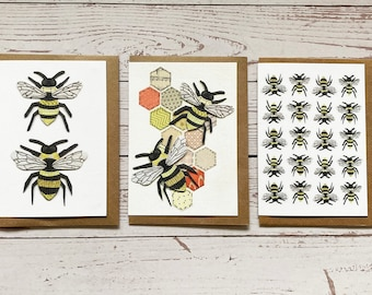 Pack Of 3 Bee Greeting Cards, Blank Inside,Bee Cards, Any occasions greeting cards, Print of original artwork
