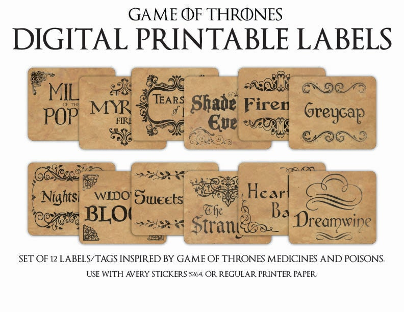 game of thrones digital printable apothecary poison medicine etsy