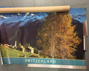 Vintage Switzerland Engadine Soglio big poster by Robert Everts Rapho published by Portal Publications in Corte Madera California