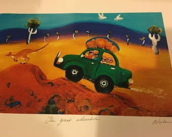 Famous Australian Artist Helen Norton color print, The great adventure, signed and stamped
