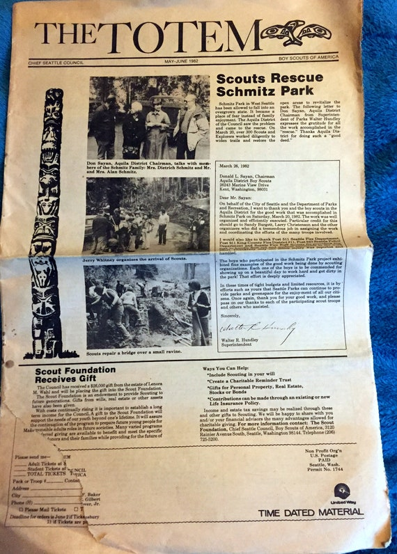 The Totem Boy Scouts of America Chief Seattle Council May-June 1982 Paper,  Sounders, Day Camps, District Calendars, Scouter Awards, Schmitz