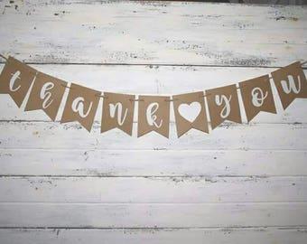 WEDDING - Thank You Banner - Wedding Decor - Wedding Banners - Wedding Signs - Party Banner