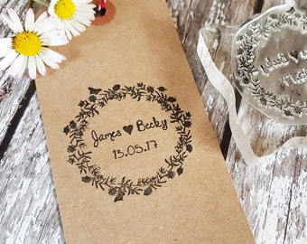 Custom Wedding Stamp/ Initials Stamp / Monogram stamp / Save the Date Stamp / Wedding Invitations / Wedding Favour Tags / Flower Butterflies