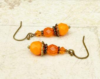 Orange Earrings, Bright Orange Earrings, Orange and Gold Earrings, Czech Glass Beads, Swarovski Earrings, Unique Earrings, Gifts for Her