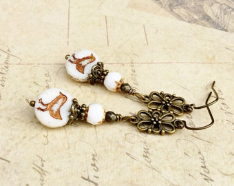 White Earrings, Bird Earrings, Gold Bird Earrings, Long White Earrings, Czech Glass Beads, Unique Earrings, Gold Earrings, Gifts for Her