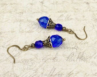 Blue Earrings, Cobalt Blue Earrings, Cobalt Earrings, Czech Glass Beads, Victorian Earrings, Vintage Look Earrings, Blue Beaded Earrings