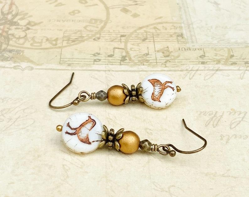 Gold Earrings Czech Glass Beads Bird Earrings Ivory Earrings White Earrings Golden Earrings Victorian Earrings Gold Bird Earrings