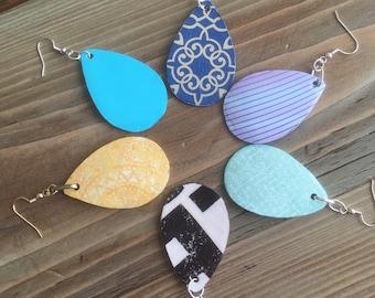 Recycled Paper Teardrop Earrings