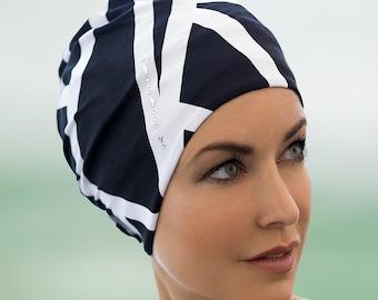 4bf4a80906 Retro Style Swim Cap - Fashy Turban Swim Hat - Black and White Zebra Print  Swimming Hat - Swim Cap - One Size - Vintage Style Swim Cap