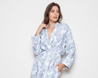 Aquamarine Bird of Paradise design Block printed COTTON DRESSING GOWN