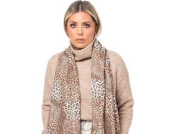 New Ladies Designer Pia Rossini Animal Leopard Print Sarong Brown//Cream
