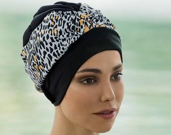 2348421b43 Retro Style Swim Cap - Fashy Turban Swim Hat - Black and Gold Animal Print  Swimming Hat - Swim Cap - One Size - Vintage Style Swim Cap