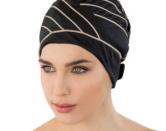4039e98341 Retro Style Swim Cap - Fashy Turban Swim Hat - Black with Brown Piping - Swim  Cap - One Size - Vintage Style Swim Cap