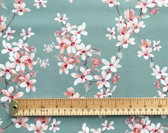 the latest cdf93 b36c5 100% Cotton Fabric - Teal Cherry Blossom Floral Print - Craft Fabric  Material by the Metre (JLC0153)