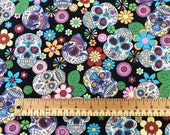 100 Cotton Sugar Skulls Print Fabric - Día de Muertos - Day of the Dead - Various Colours (CP0312)