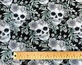 Skull Print Fabric 100 Cotton Skulls Black Roses Craft Fabric Material Metre