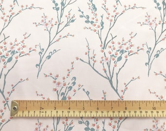 low priced fd380 437a0 100% Cotton Poplin Fabric - Pink Cherry Blossom Floral Print on Pink  Background - Craft Fabric Material by the Metre (CPO363COL5)
