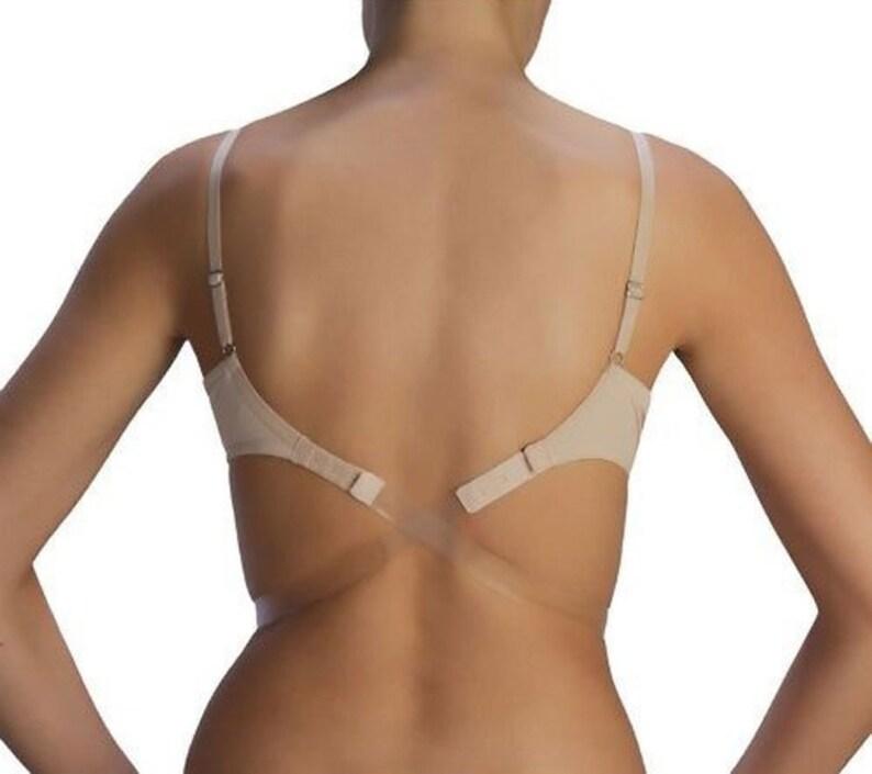 f4031be03a0f9 Low Back Bra Strap - Backless Bra Strap - Clear Bra Strap - CLEAR NUDE - Bra  Strap Converter