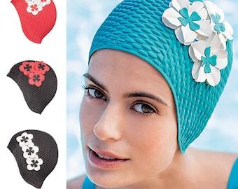Retro Style Swim Cap - Fashy Swimming Hat with Flower Detail  - Vintage Style Bubble Swim Cap