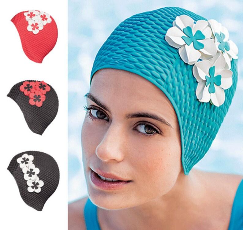 c79b6c3ce6 Retro Style Swim Cap Fashy Swimming Hat with Flower Detail