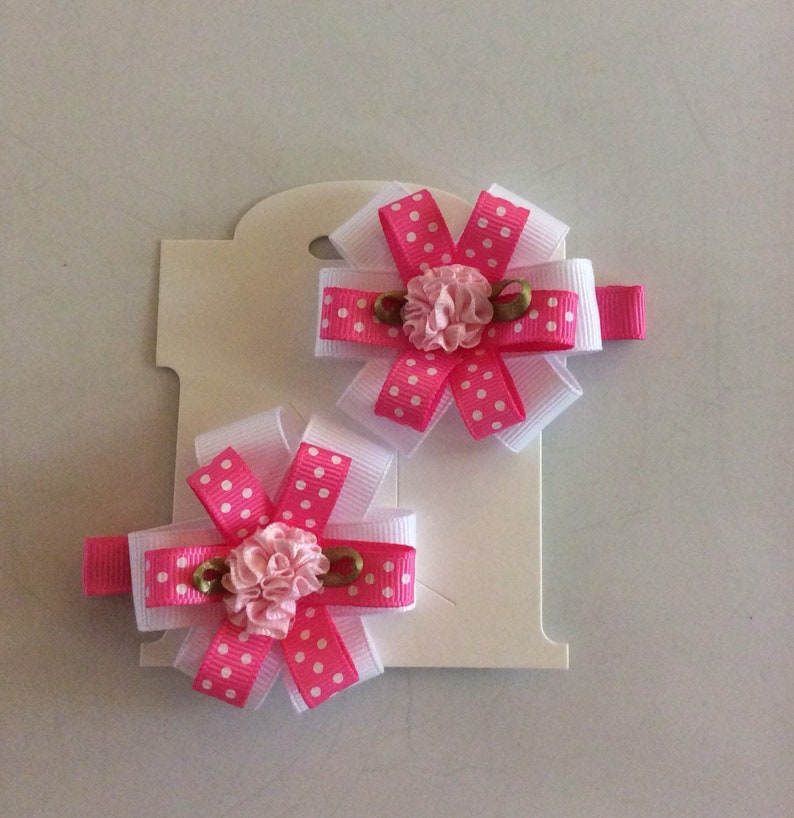ribbon bows Soft pink ribbon flowers double layer bows Pretty pink flowers Ribbon lined small hair clip Hair bow Small  clip pair