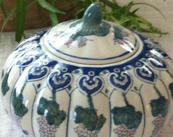 Blue & White Pumpkin Shaped Crock/Ginger Jar with Grape and Leaf Design