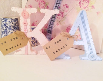 Vintage Shabby Chic Wooden Free Standing Personalised Letter Initial Free Standing Baby Girl Boy Blue Pink White Baby Shower Gift Nursery