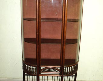 Charmant Small Antique Mahogany Stick And Ball Curved Glass Curio Cabinet