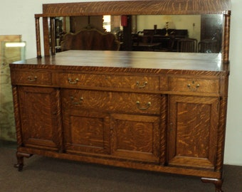Charmant Antique Mission Style Oak Buffet Sideboard, Claw Feet
