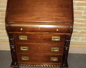 Antique American Empire Mahogany Drop Front Secretary Desk, Pineapple Acanthus, Shipping is NOT Free