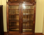 Antique Walnut Victorian Step Front Bookcase, Display Cabinet, Shipping is not free