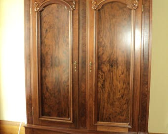 Antique Burl Walnut 2 Door Knockdown Wardrobe Armoire