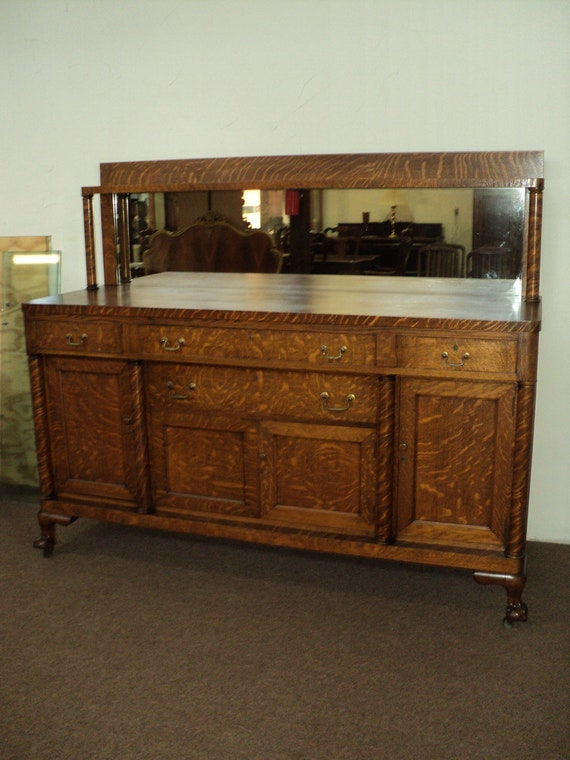 Antique Mission Style Oak Buffet Sideboard Claw Feet Etsy