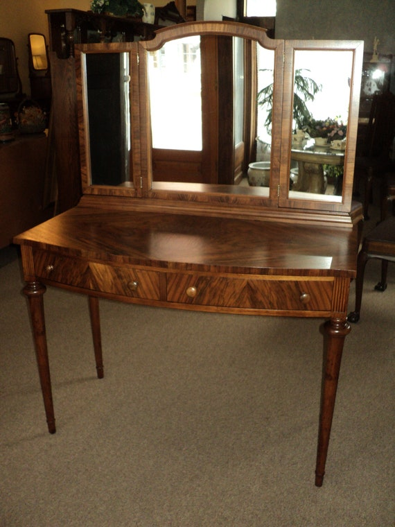 image 0 - Antique Walnut Vanity W. Tri-Fold Mirrors Shipping Is Not Etsy