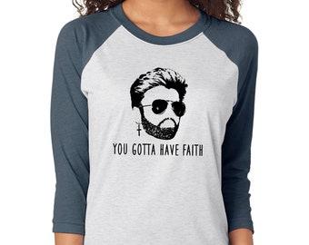 George Michael FAITH unisex raglan t shirt, 80s singer, Wham, gift for music lover