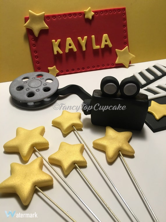 Hollywood Themed Handmade Edible Fondant Cake Toppers Made By Etsy