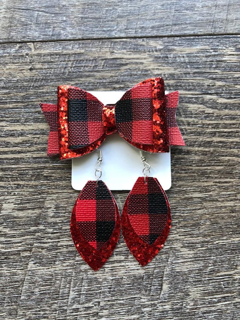 Earring Set Red Black Buffalo Plaid Christmas Hair Bow Mommy /& Me Bow