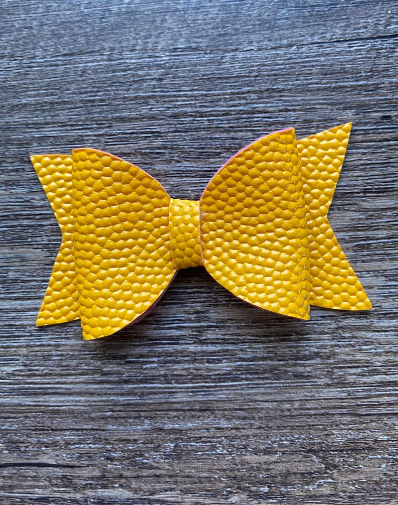 Mustard Yellow Faux Leather Hair Bow
